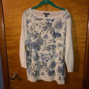 Chaps Floral Print Sweater